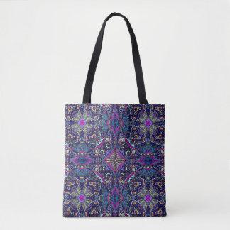 Boho blue kaleidoscope native american trend tote bag