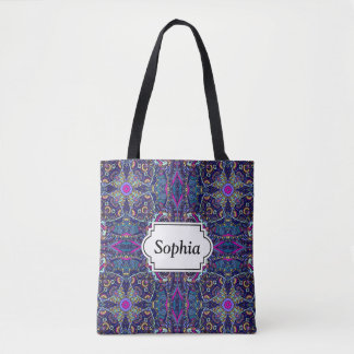 Boho blue kaleidoscope native american trend tote bag