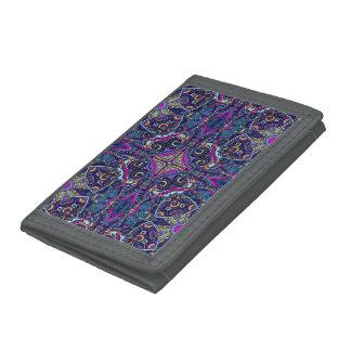 Boho blue kaleidoscope native american trend tri-fold wallets