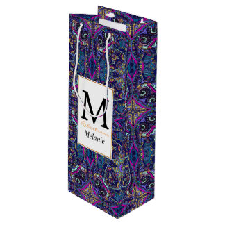Boho blue kaleidoscope native american trend wine gift bag