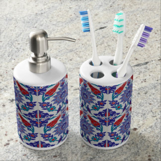 Boho Blue Moroccan Tile Pattern Bath Accessories Bathroom Set