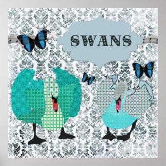 Boho Blue Swans & Butterflies Grunge Damask Poster