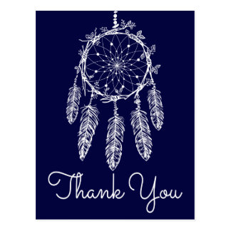Boho Blue Thank You Dream Catcher Native American Postcard