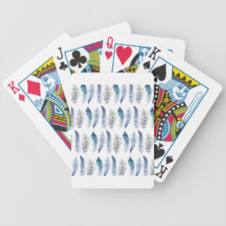 Boho Blue Watercolor Feathers All Over Print Bicycle Playing Cards
