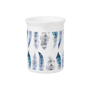 Boho Blue Watercolor Feathers All Over Print Pitcher