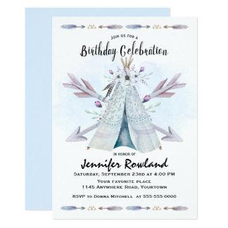 Boho Blue Watercolor Teepee Birthday Invitation