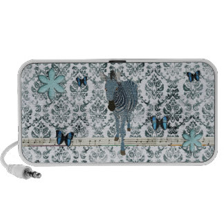 Boho Blue Zebra & Butterflies  Music Doodle Speake iPhone Speaker