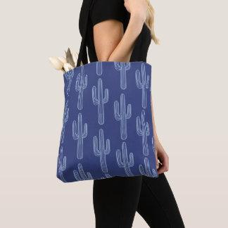 Boho Bohemian Blue Cactus Pattern Tote Bag
