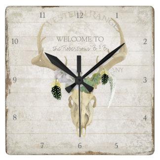Boho Bohemian Deer Antler Western Desert Skull Art Clocks