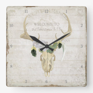 Boho Bohemian Deer Antler Western Desert Skull Art Square Wall Clock