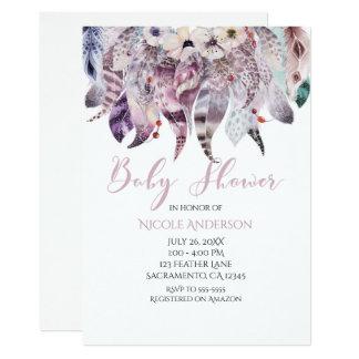 Boho Bohemian Feathers Baby Shower Invitations