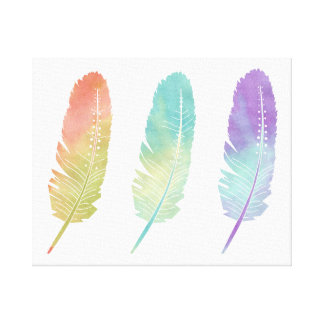Boho Bohemian Feathers Watercolor Rainbow Stretched Canvas Prints