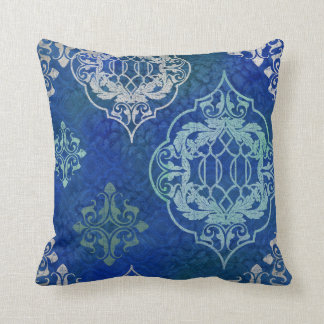 BOHO Bohemian Moroccan Tile Watercolor Blue Aqua Throw Pillow