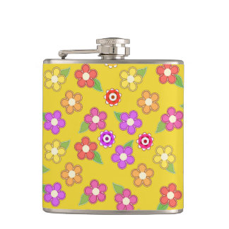Boho Bohemian Retro Colorful Floral Flowers Hip Flask