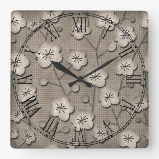 Boho Bohemian Retro Colorful Floral Flowers Square Wall Clock