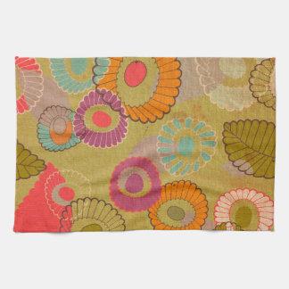 Boho Bohemian Retro Colorful Floral Flowers Tea Towel