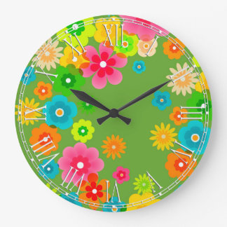 Boho Bohemian Retro Colorful Floral Flowers Wallclocks