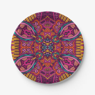 Boho Bohemian Retro Colorful Pattern Paper Plate