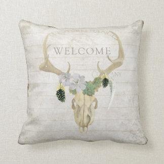 BOHO Bohemian Western Deer Antler Skull Feathers Cushion