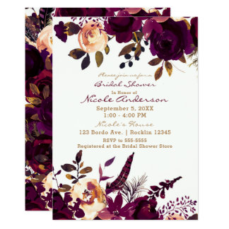 Boho Bordeaux Maroon Floral Fall Bridal Shower Card