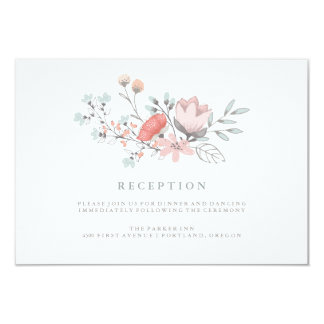 Boho Botanical Rustic Reception in Coral and Gray Card