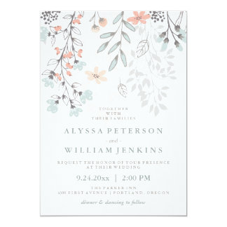 Boho Botanical Rustic Wedding in Coral and Gray 13 Cm X 18 Cm Invitation Card