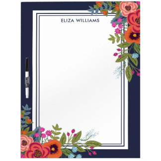 Boho Bouquets - Navy Blue - Name Dry Erase Board