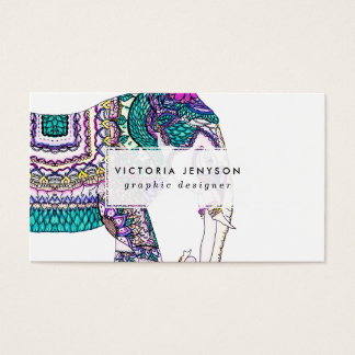 Boho bright watercolor tribal henna elephant business card