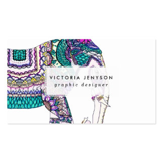 Boho bright watercolor tribal henna elephant pack of standard business cards