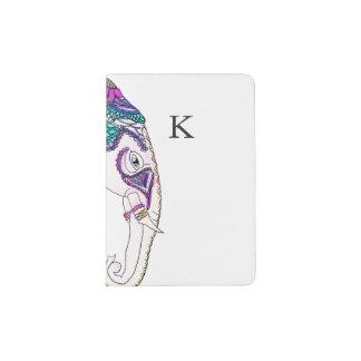 Boho bright watercolor tribal henna elephant passport holder