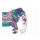 Boho bright watercolor tribal henna elephant postcard