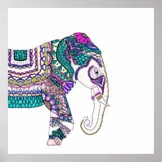 Boho bright watercolor tribal henna elephant poster