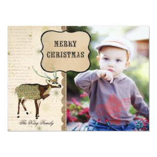 Boho Buck Snowflake Christmas Photo Card 17 Cm X 22 Cm Invitation Card