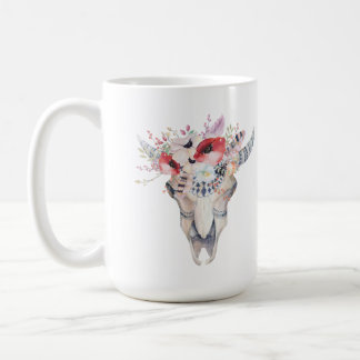 Boho Bull Skul Tribal Feathers & Flowers Bouquet Coffee Mug