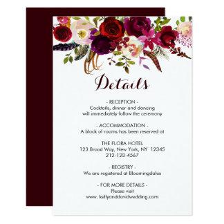 Boho Burgundy Marsala Floral Wedding Details Info Card