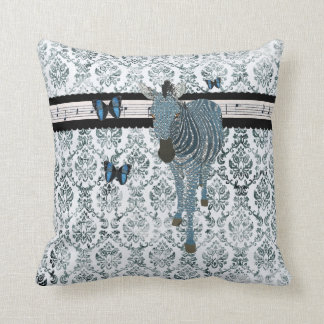 Boho Butterflies & Zebra Grunge  Damask  Mojo Pill Cushion