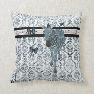 Boho Butterflies Zebra Grunge Damask Mojo Pill Pillow