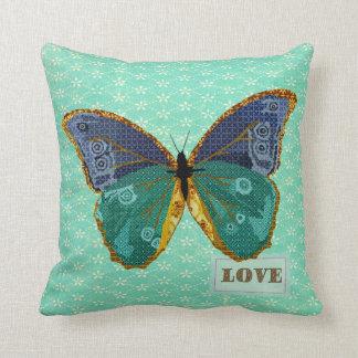Boho Butterfly Love Gold Blue Green MoJo Pillow