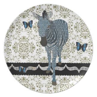 Boho Butterfly & Zeb Damask Plate