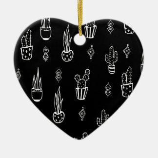Boho Cactus Black and White Hand Drawn Ceramic Ornament