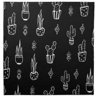 Boho Cactus Black and White Hand Drawn Napkin
