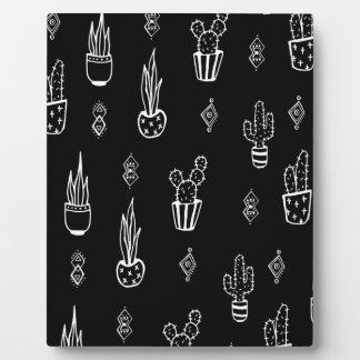 Boho Cactus Black and White Hand Drawn Plaque