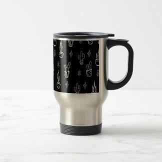 Boho Cactus Black and White Hand Drawn Travel Mug