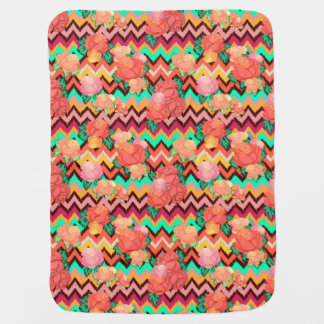 Boho chevron chic fleece baby blanket