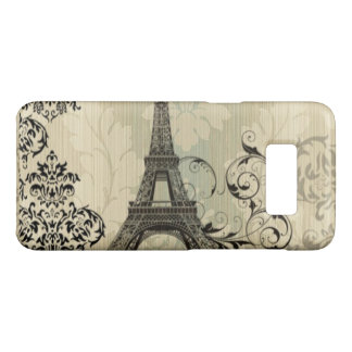 Boho Chic beige Damask Paris Eiffel Tower Case-Mate Samsung Galaxy S8 Case