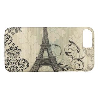 Boho Chic beige Damask Paris Eiffel Tower iPhone 8/7 Case
