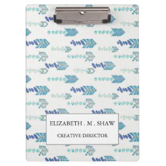 boho chic blue arrows native pattern clipboard