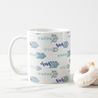boho chic blue arrows native pattern coffee mug