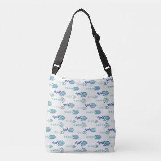boho chic blue arrows native pattern crossbody bag