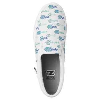 boho chic blue arrows native pattern Slip-On shoes